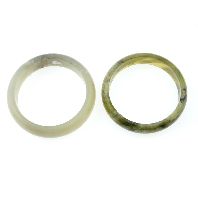 Two jade bangles and three jade rings, - Image 2 of 2