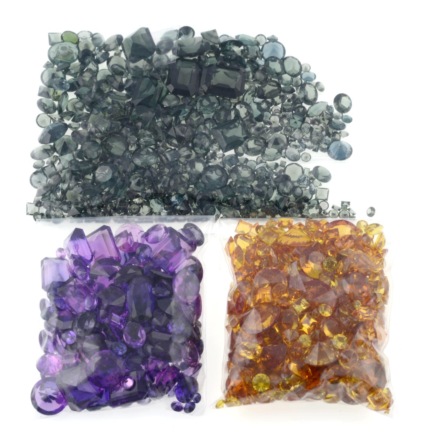 A selection of synthetic spinels and synthetic sapphires, weighing 189gms. - Image 2 of 2