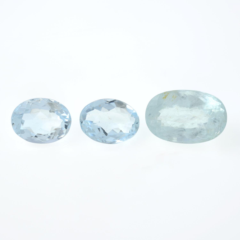 Selection of vari-shape aquamarines,