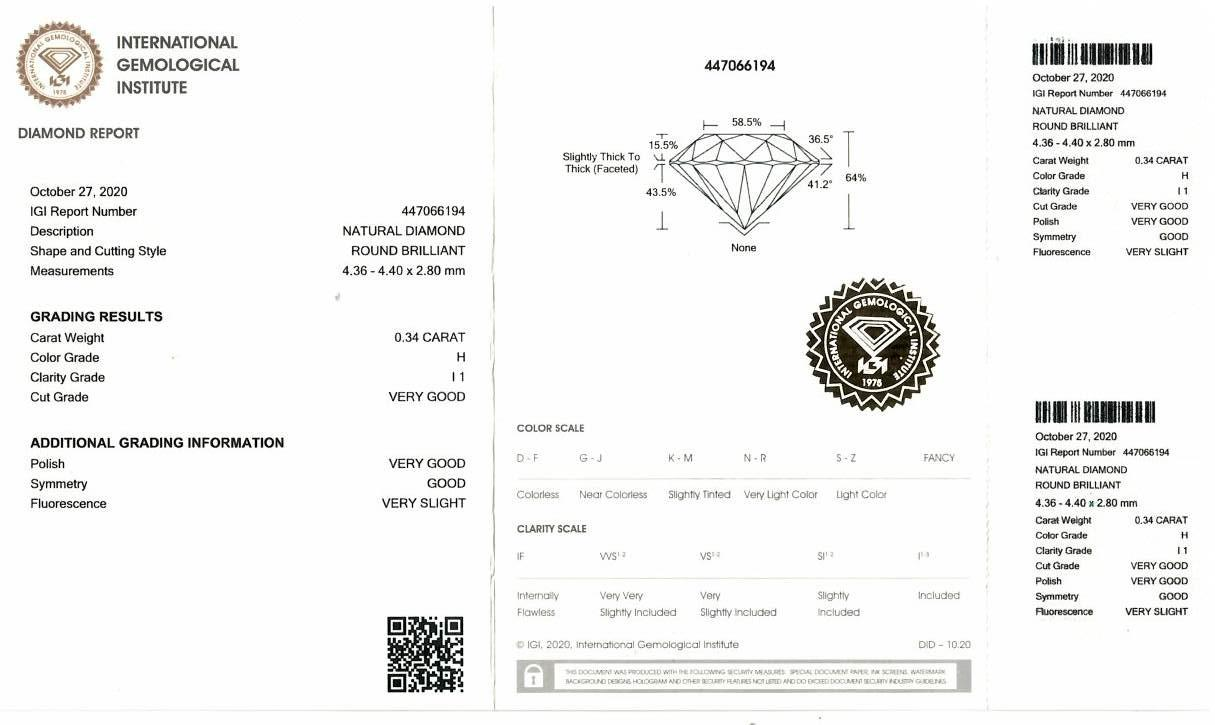 A brilliant cut diamond, weighing 0.34ct, measuring 4.36 by 4.4 by 2.8mms. - Image 4 of 4