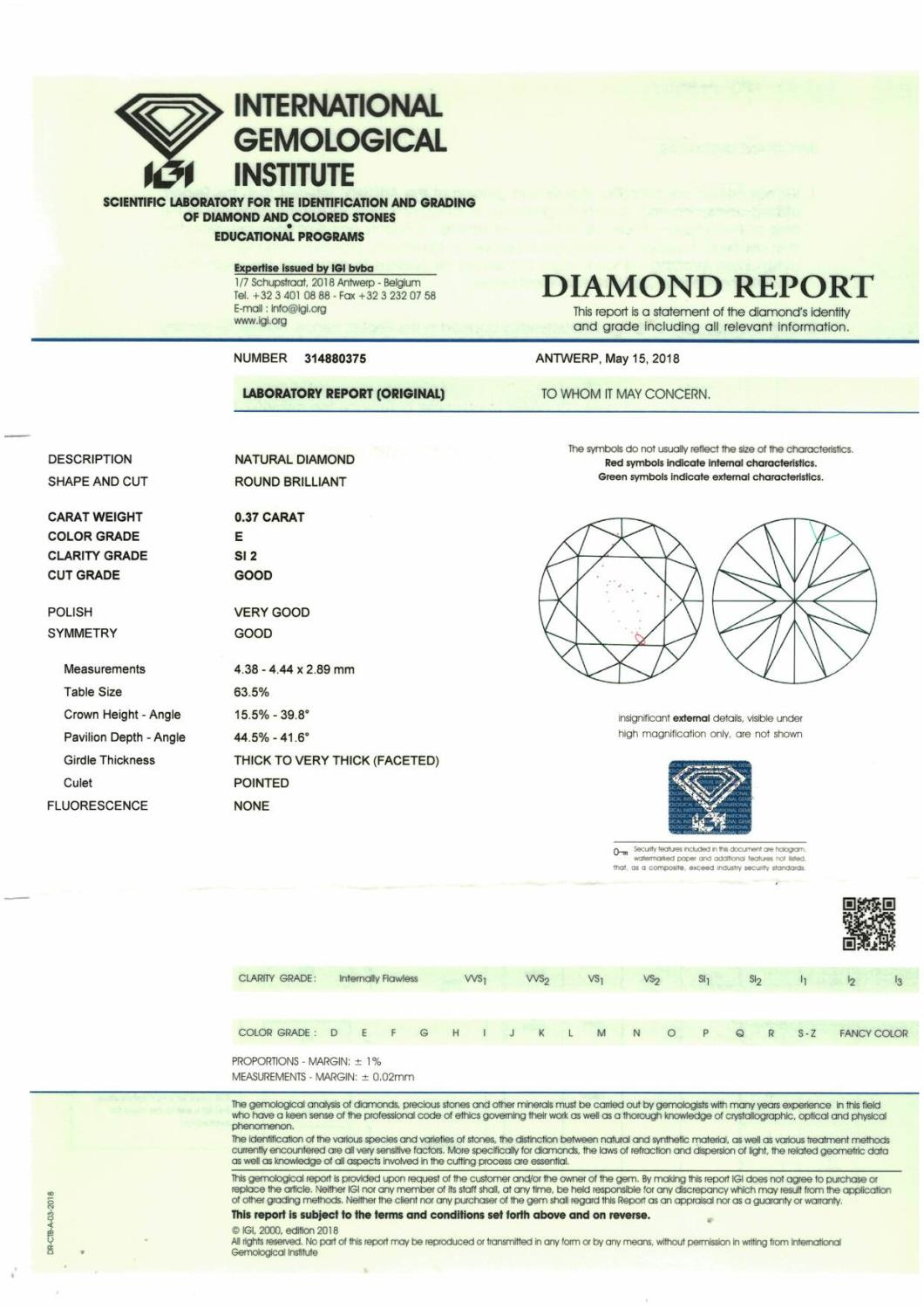 A brilliant cut diamond, weighing 0.37ct. - Image 4 of 4