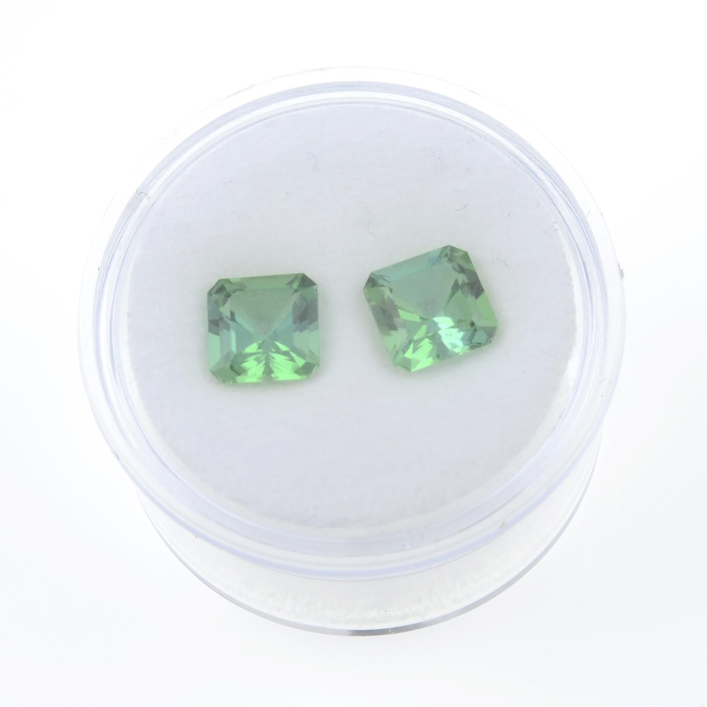 Pair of rectangular shape green tourmalines, weighing 2.65ct. - Image 3 of 3