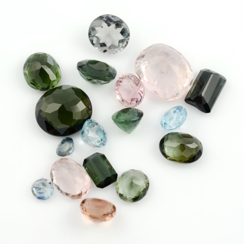 A selection of vari-shape and vari-colour tourmalines.