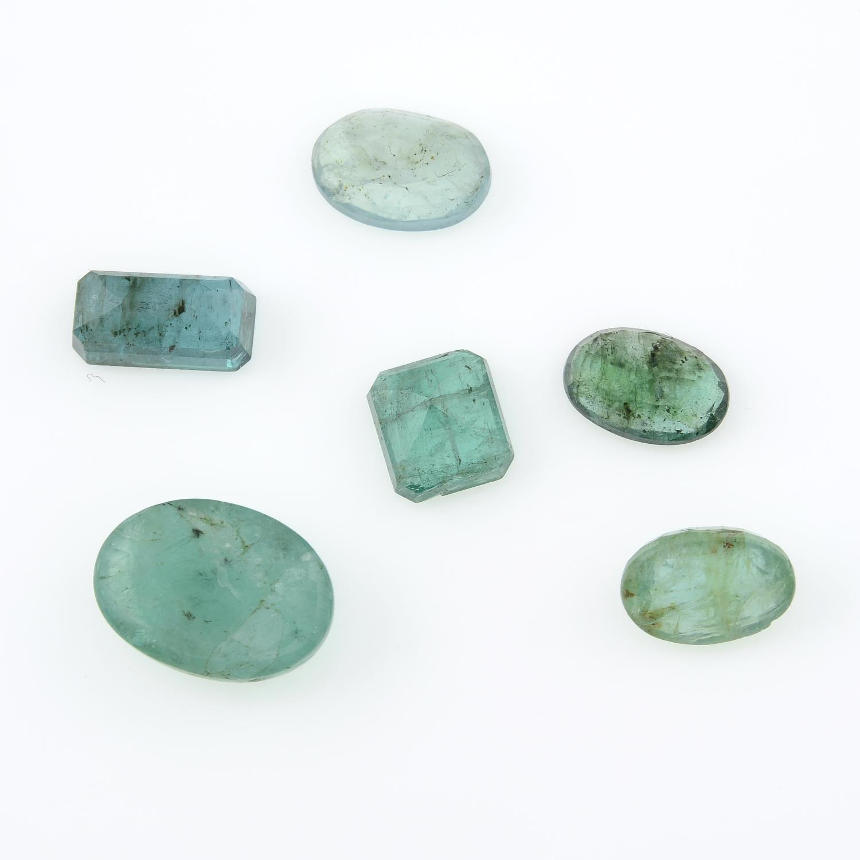 Six vari-shape emeralds. - Image 2 of 8