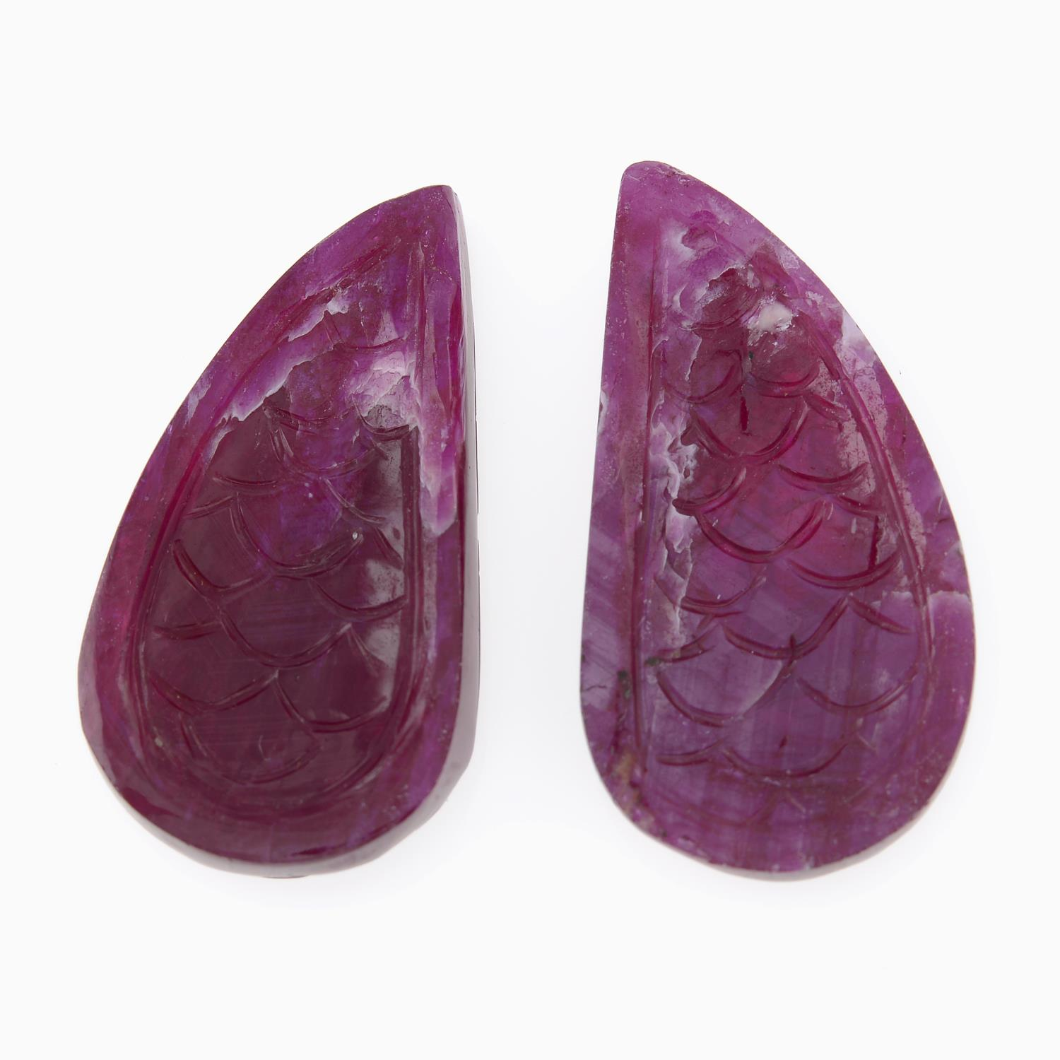 Selection of rough and carved rubies, - Image 2 of 3