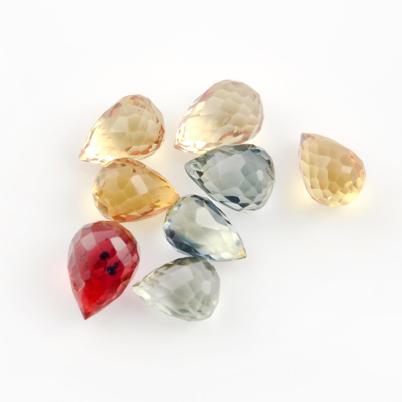 A selection of briolette shape sapphires.