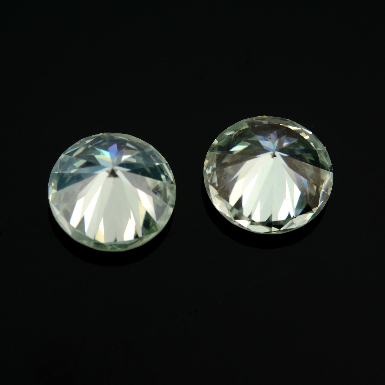 A pair of circular-shape colourless synthetic moissanite total weight 3.62cts. - Image 2 of 2
