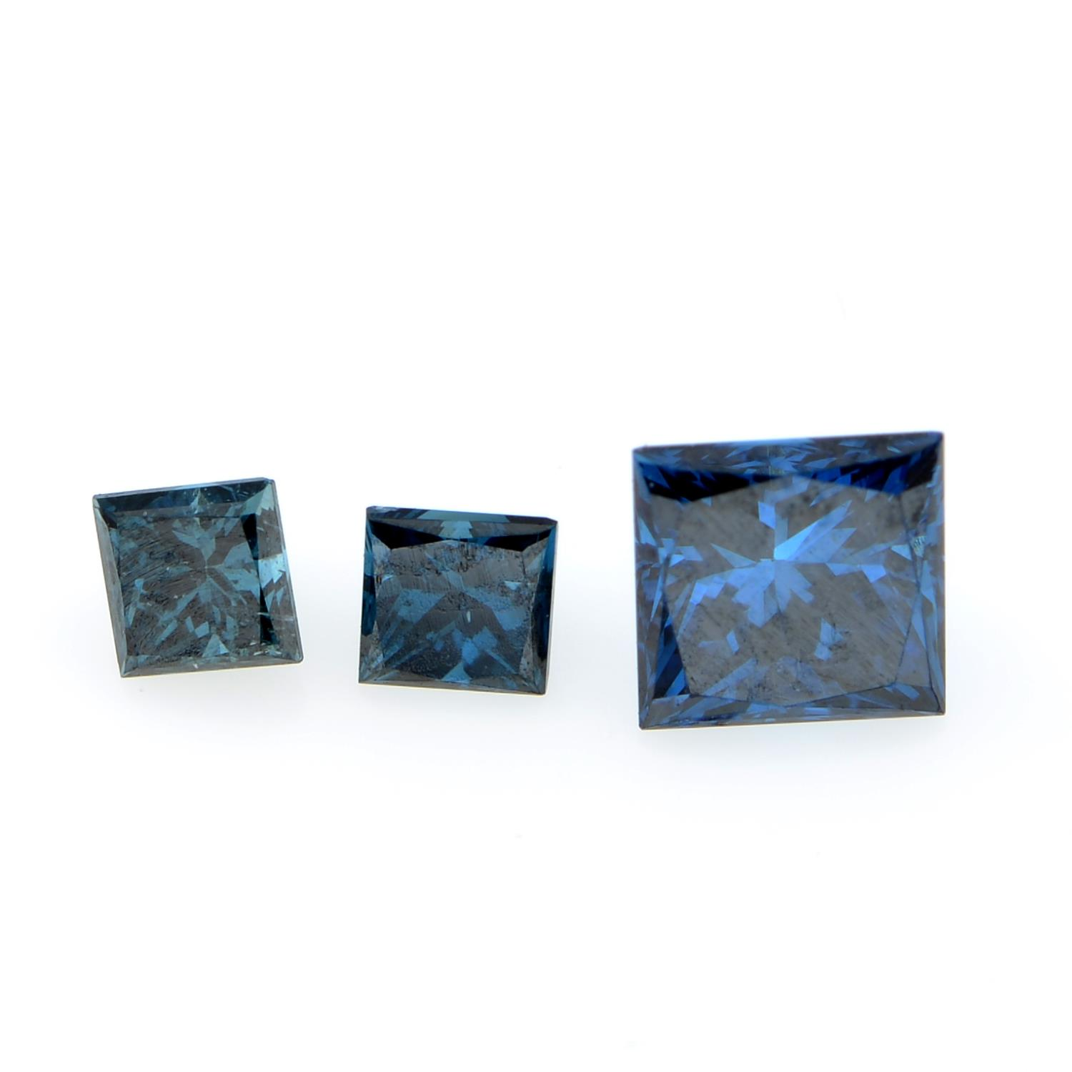 A selection of coloured diamonds, weighing 2.30cts total, Including pink, blue and yellow.