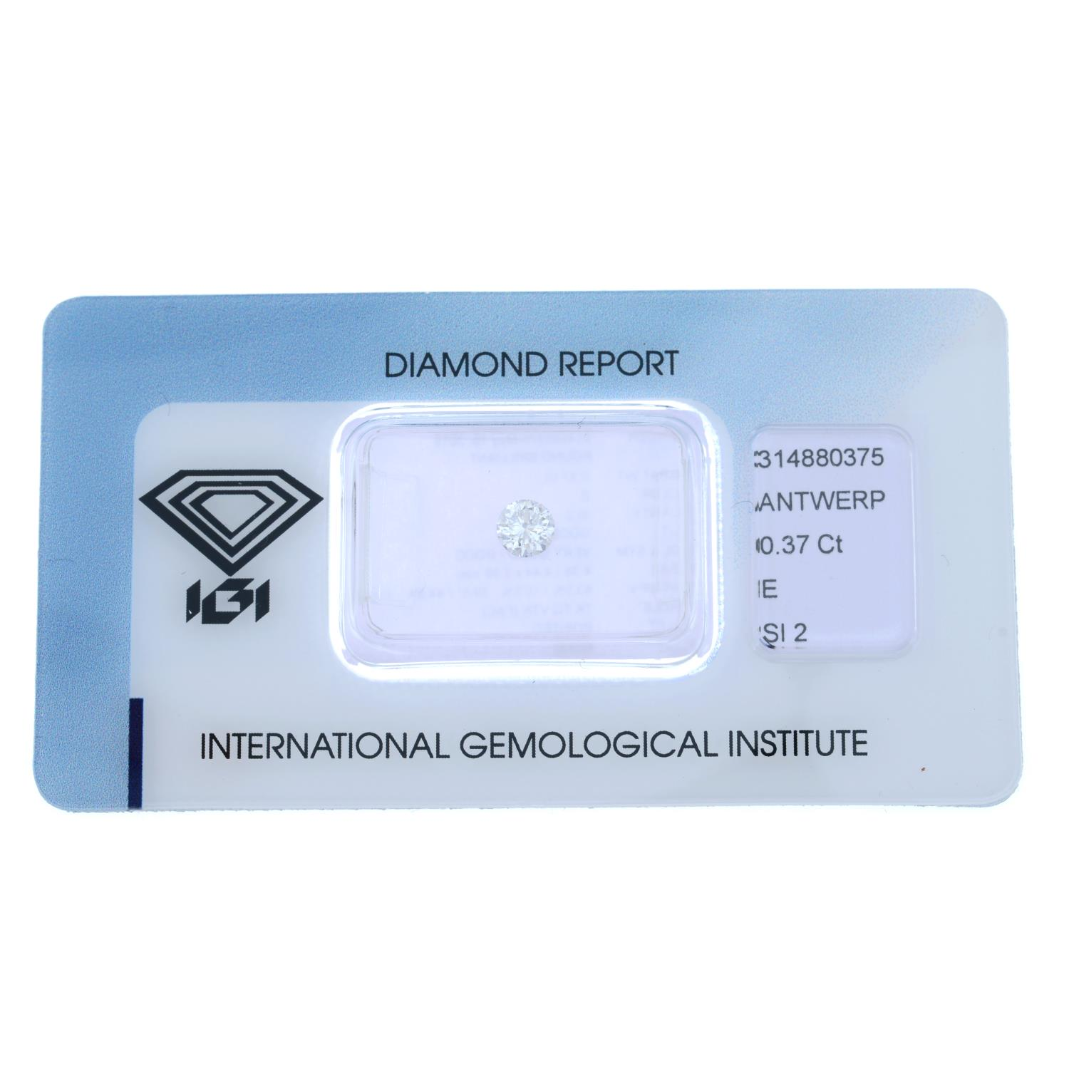 A brilliant cut diamond, weighing 0.37ct. - Image 2 of 4