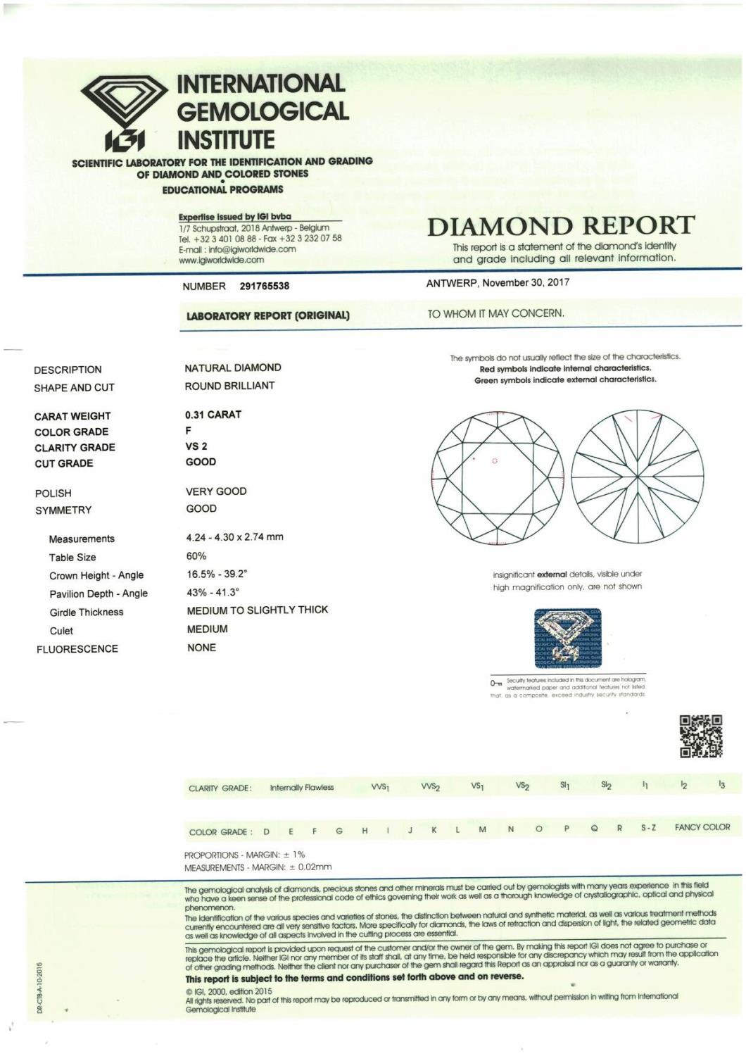 A brilliant cut diamond, weighing 0.31ct. - Image 4 of 4