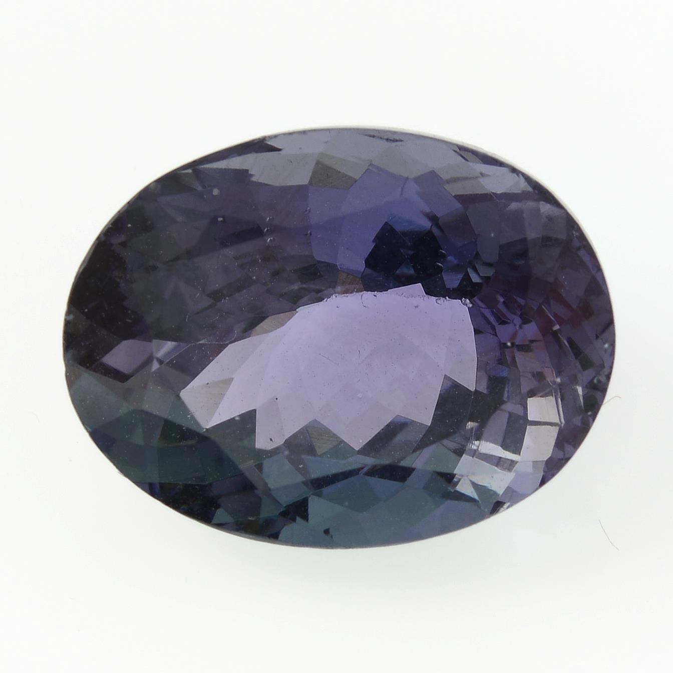 An oval-shape tanzanite, weighing 5.66cts.