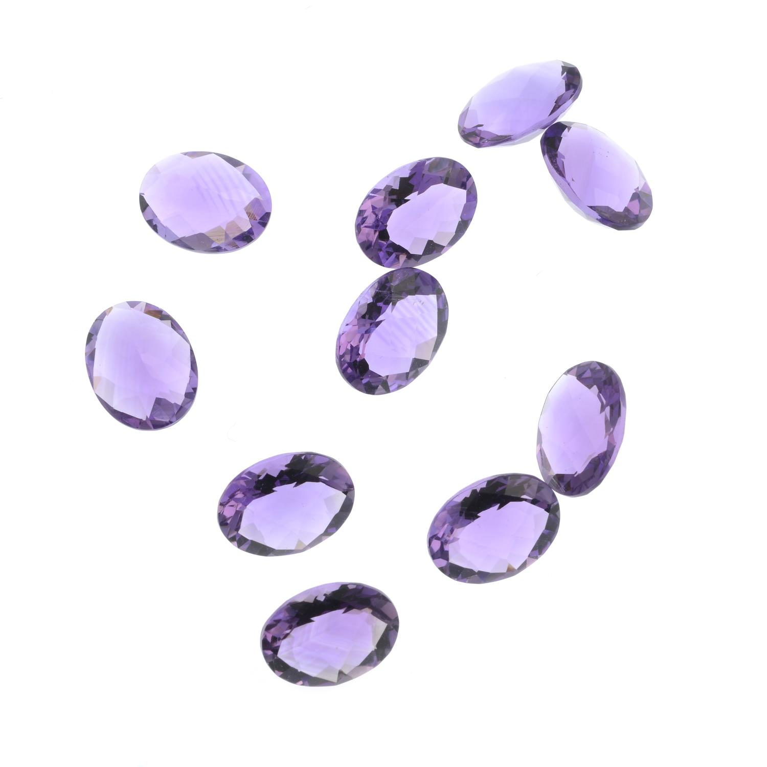 Ten oval-shape amethysts, total weight 15cts. - Image 2 of 2