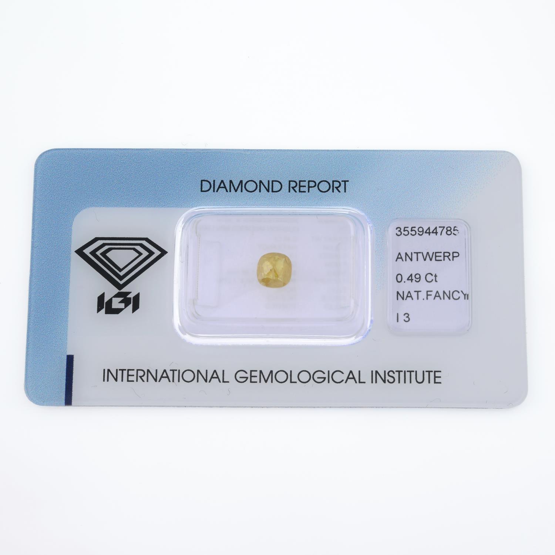A cushion shape fancy yellow diamond, weighing 0.49ct. - Image 2 of 4