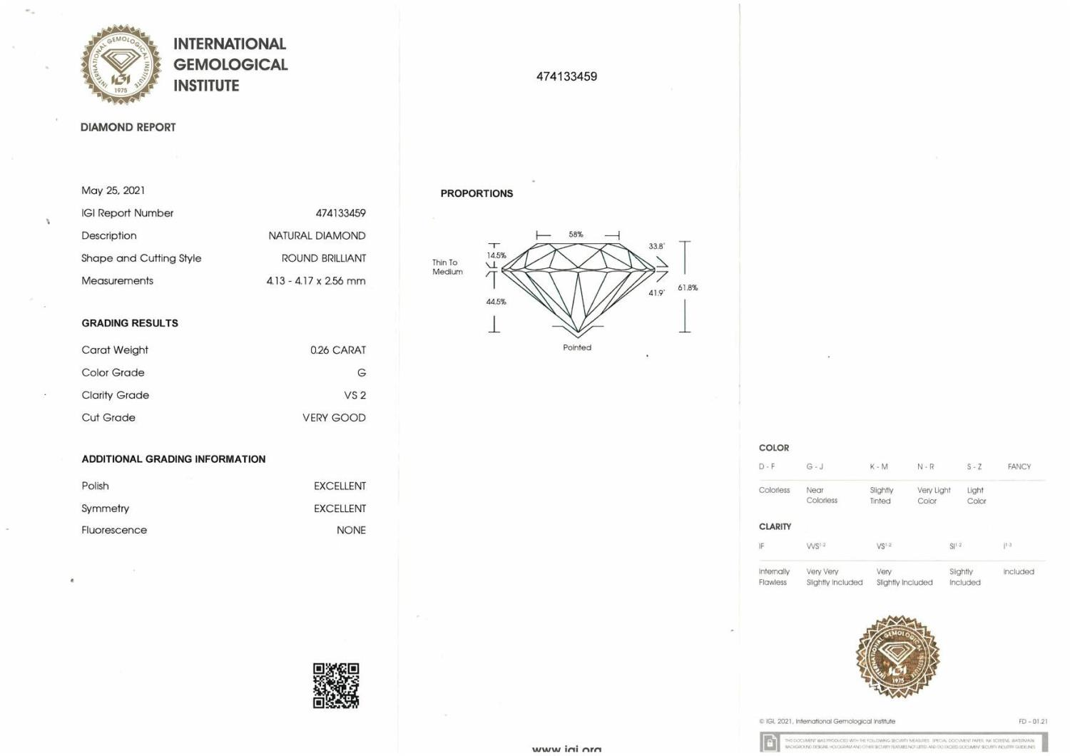 A brilliant cut diamond, weighing 0.26ct, measuring 4.13 by 4.17 by 2.56mm. - Image 4 of 4