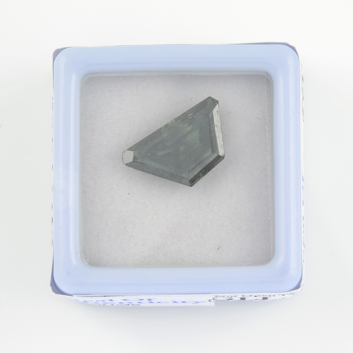 A fancy-shape green synthetic moissanite, weighing 2.85cts. - Image 2 of 3