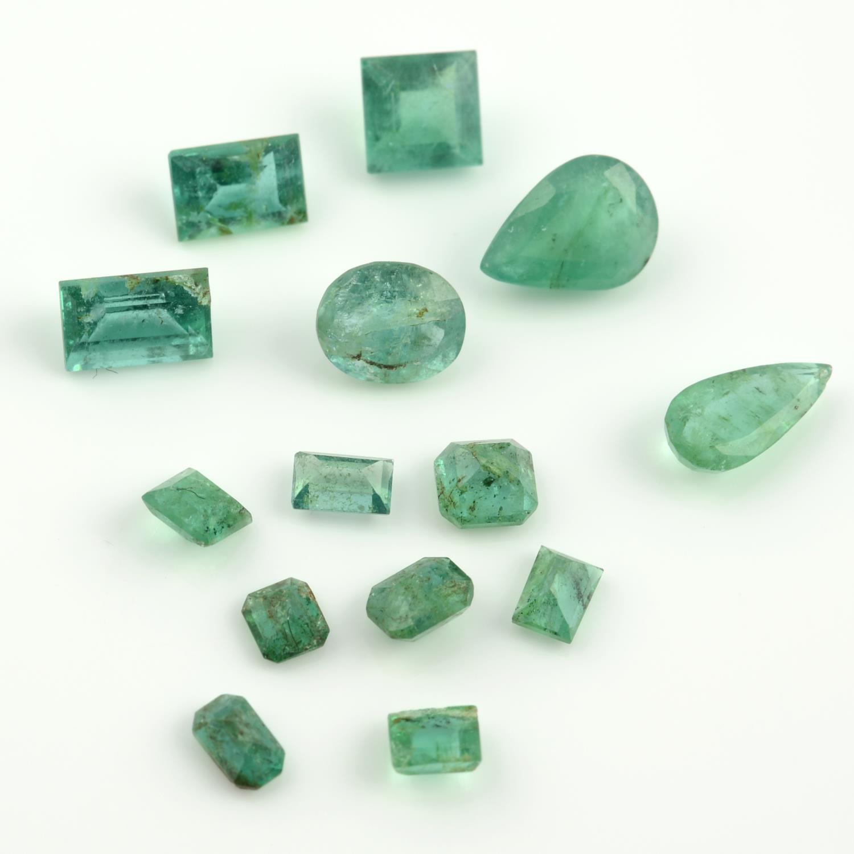 A selection of vari-shape emeralds.