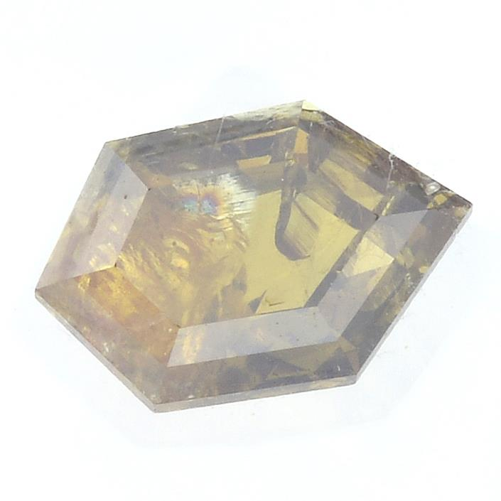 A fancy shape fancy deep brownish orange diamond, weighing 1.20cts.