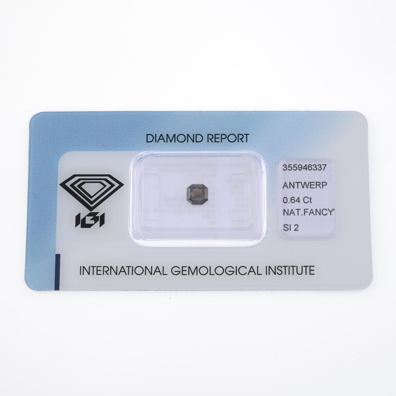 A rectangular shape fancy dark brown diamond, weighing 0.64ct. - Image 2 of 4