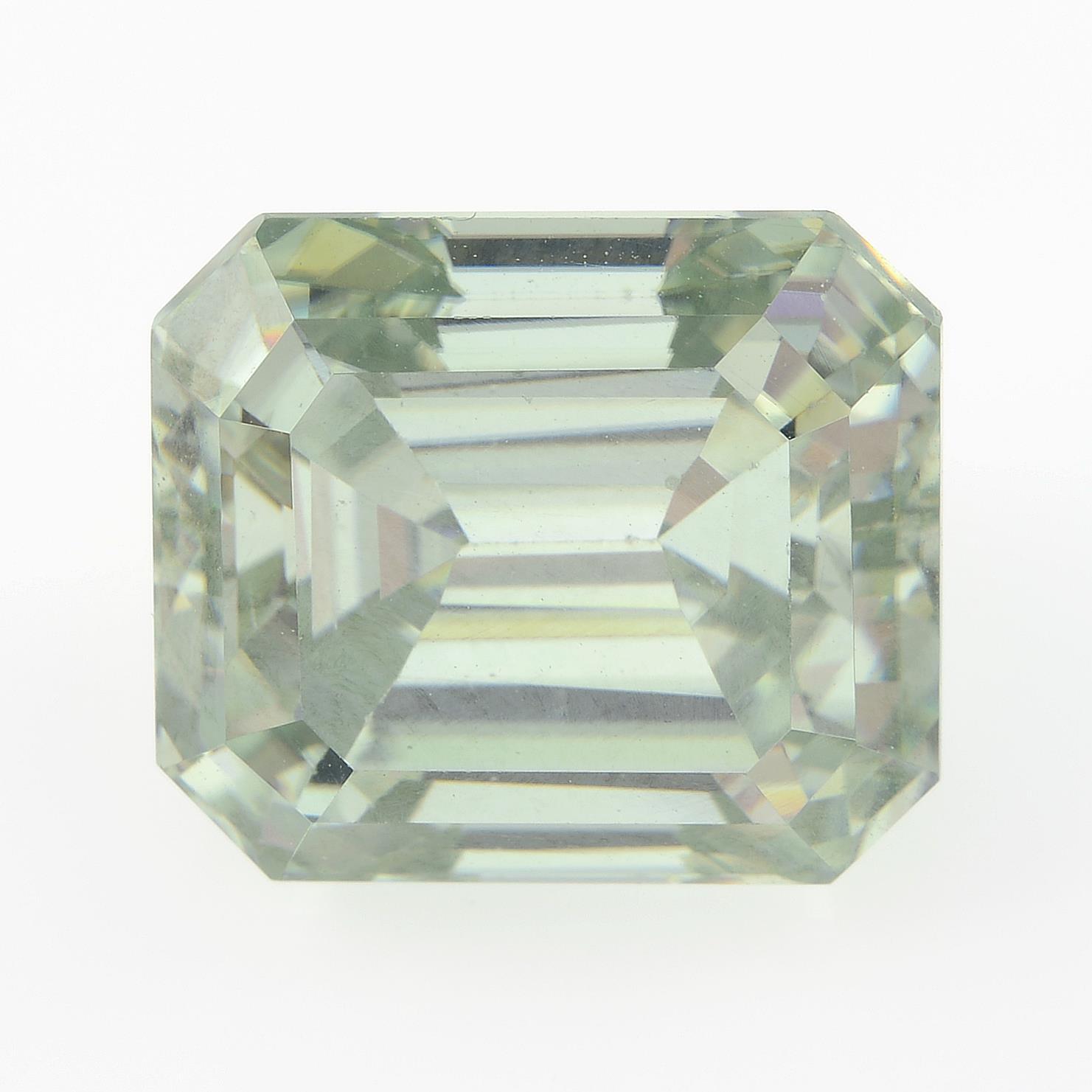 A rectangular-shape synthetic moissanite.