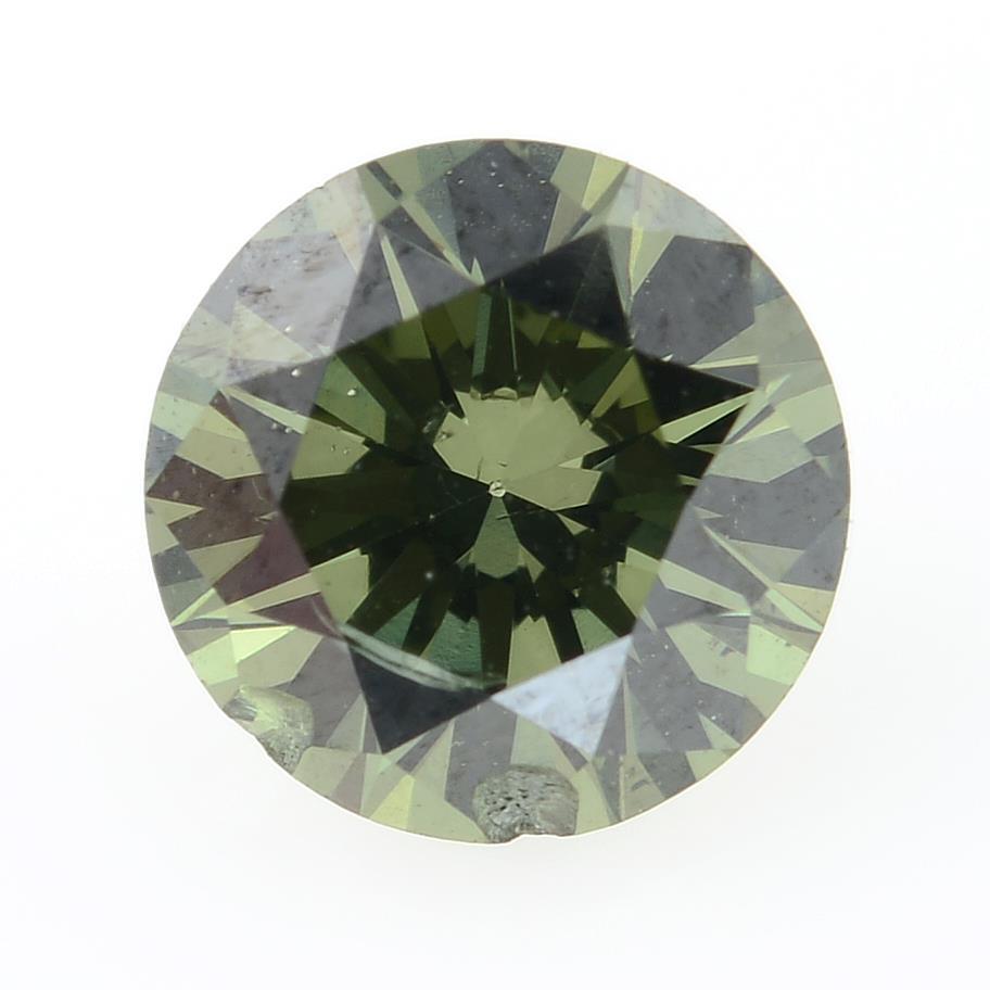 A brilliant cut 'green' diamond, weighing 0.56ct.