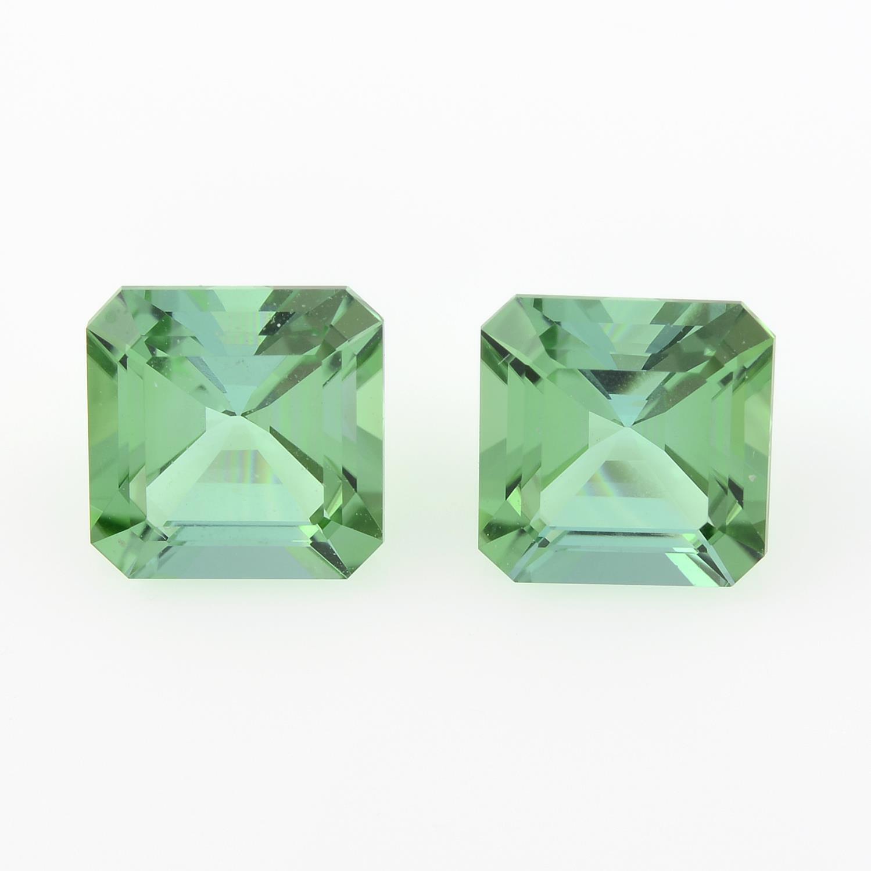 Pair of rectangular shape green tourmalines, weighing 2.65ct.