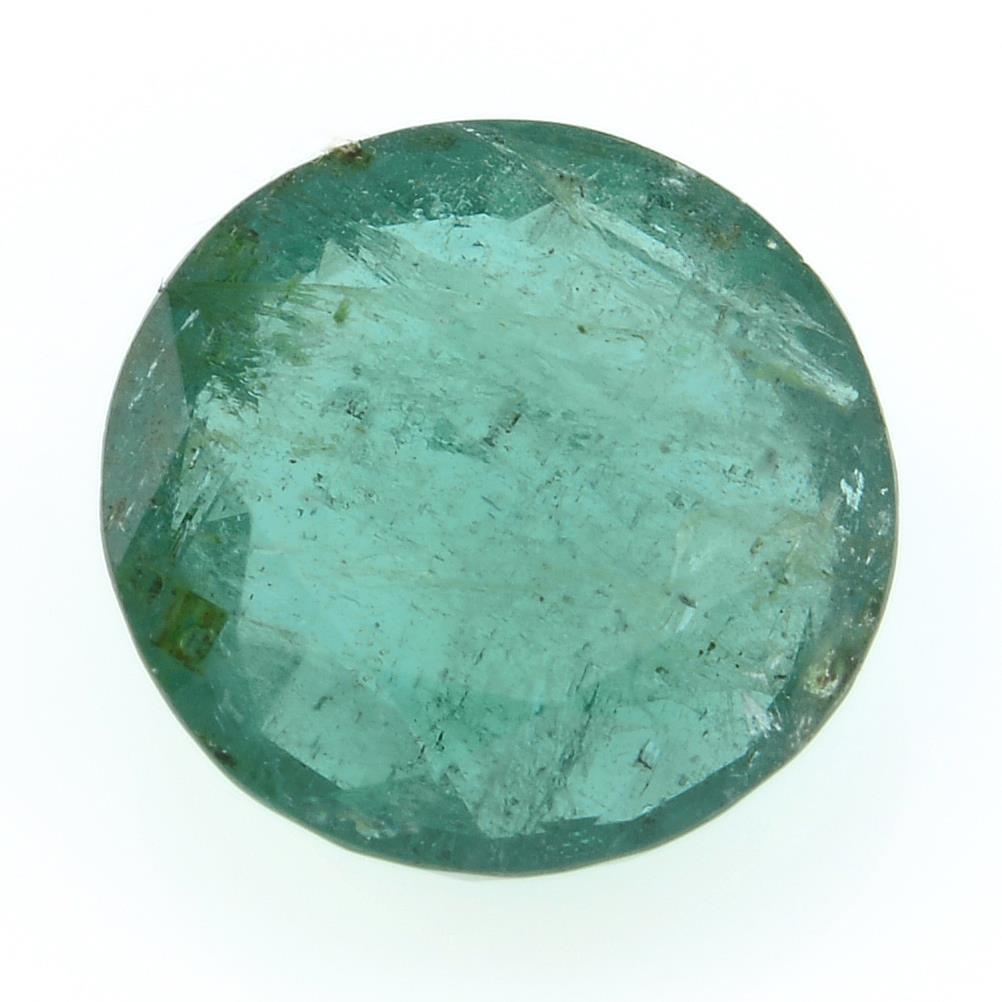 A circular shape emerald, weighing 2.43ct.