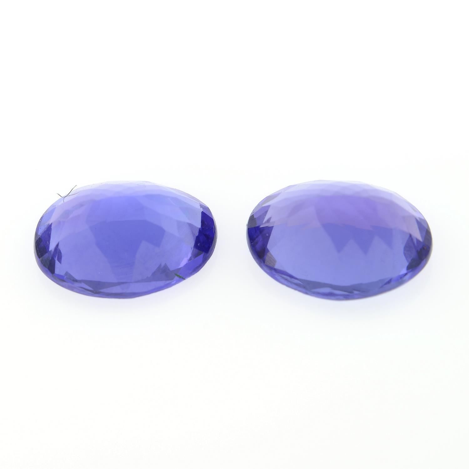 Pair of oval shape tanzanites, weighing 2.44ct. - Image 2 of 2