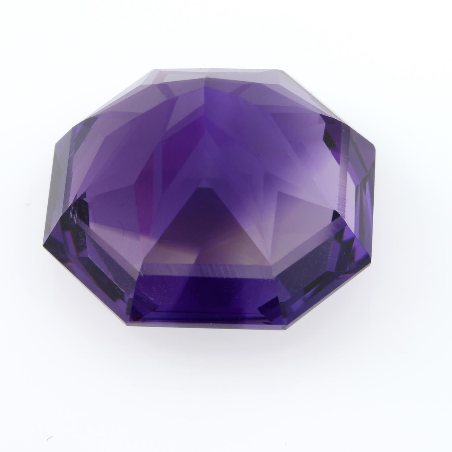 A fancy shape amethyst, weighing 41.25ct. - Image 2 of 3