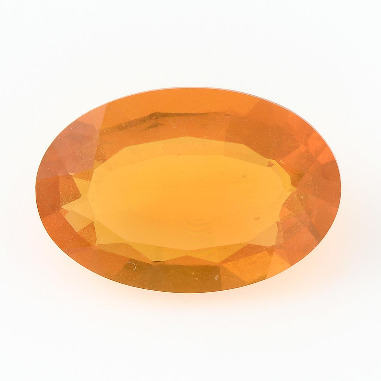 An oval-shape fire opal.