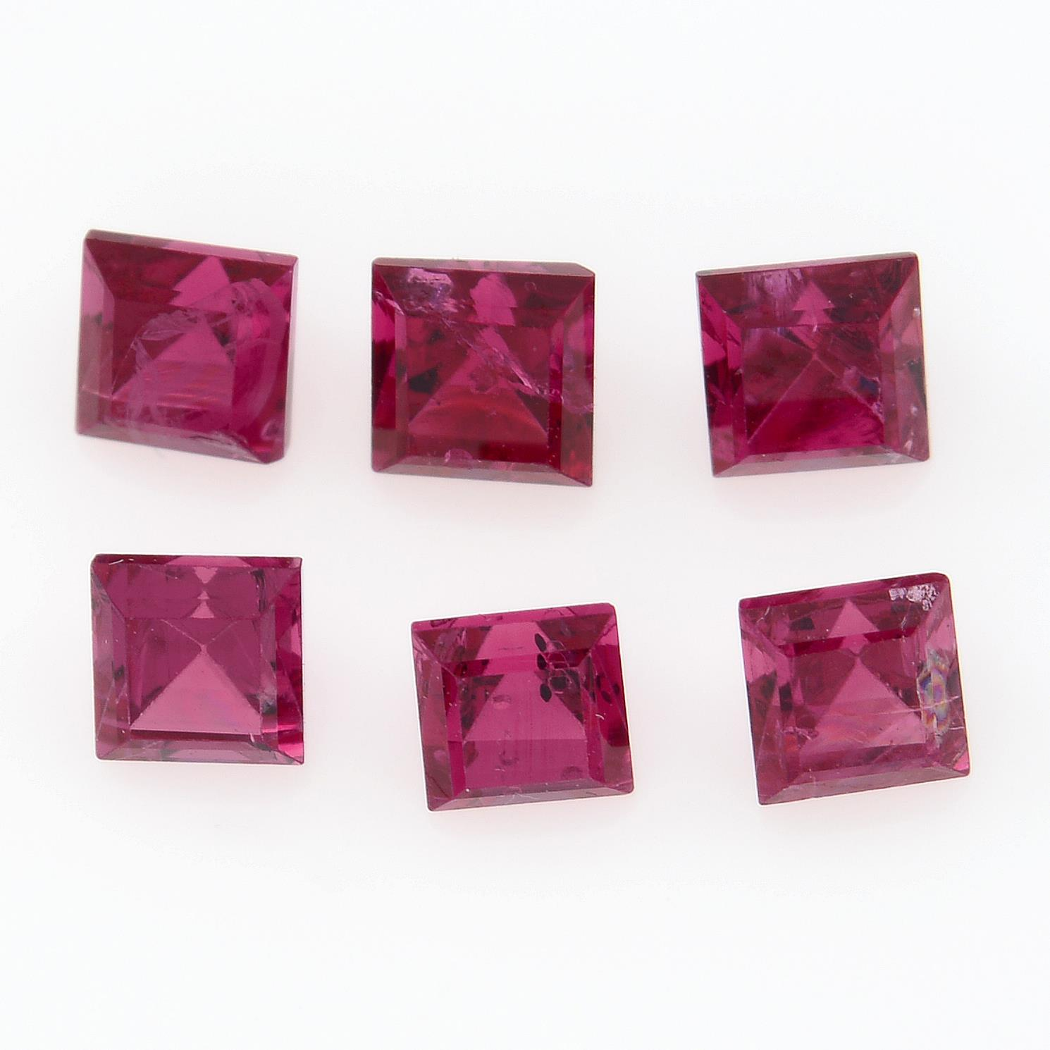 Six square shape spinels, weighing 1.86ct.