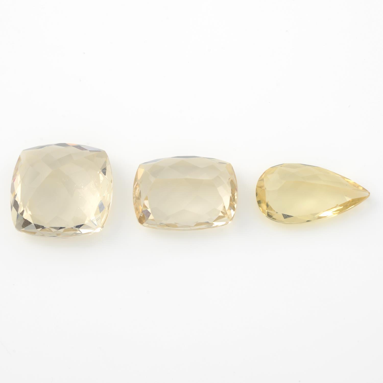Three vari-shape yellow beryls. - Image 2 of 2