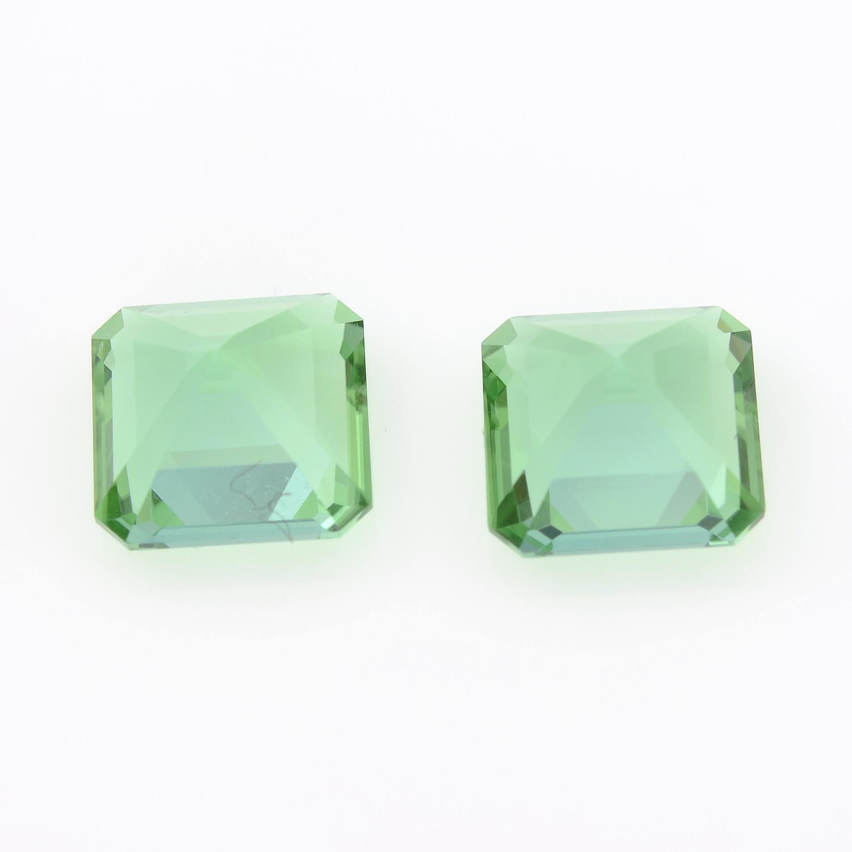 Pair of rectangular shape green tourmalines, weighing 2.65ct. - Image 2 of 3