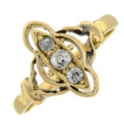 An early 20th century diamond three-stone ring.Estimated total diamond weight 0.15cts.Stamped