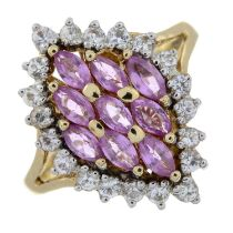 A pink sapphire and colourless gem ring.Stamped 14K.