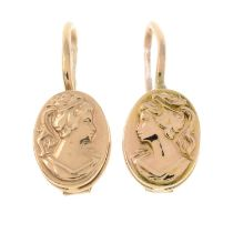 A pair of Russian 14ct gold relief drop earrings of Grecian ladies.Hallmarks for Russia.Length