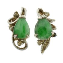 A pair of jade and diamond earrings, together with a pair of imitation pearl and paste earrings.
