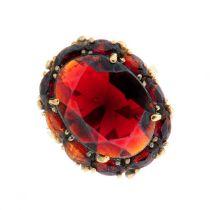 A garnet cluster ring.Stamped 333.Ring size N.
