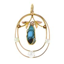 An early 20th century 9ct gold glass and seed pearl pendant and a pair of early 20th century 9ct