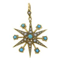 An early 20th century 15ct gold turquoise and seed pearl pendant of a star.
