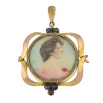 An early 20th century 9ct gold sapphire locket pendant.Stamped 9ct.Length 4.4cms.