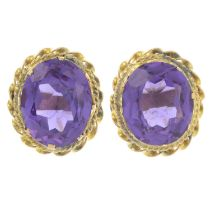 A pair of synthetic colour-change sapphire earrings.Marks to indicate gold, partially indistinct.