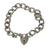 Two silver gate bracelets and three charm bracelets.Three with hallmarks for London and Birmingham.