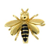 A 9ct gold black enamel brooch of a bee.Hallmarks for London.Length 2cms.