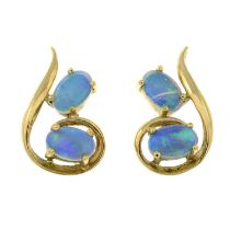 A pair of 9ct gold opal stud earrings.Import marks for Edinburgh, 1994.