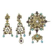 An Astro Hungarian turquoise, garnet and cultured pearl brooch.
