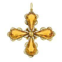 A paste cross filigree pendant.Length 6cms.