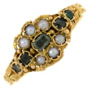 A late Victorian 15ct gold green gem and split pearl dress ring.Hallmarks for Birmingham,