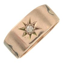 A diamond gypsy-set ring.Stamped 9.Ring size N.