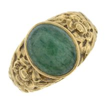 An aventurine cabochon ring.Stamped 9ct.Ring size K 1/2.