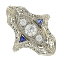 A mid 20th century colourless zircon and sapphire ring.Ring size O1/2.